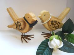 Wooden Wedding Love Birds for the Mr and Mrs by EarthlyArtz, $21.50