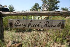 Custom Western Ranch Sign - Choose your font, color, etc.. $70.00, via Etsy.
