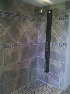 walk in showers with doors | Completed Walk in Shower with high end rain head fixture - Knoxville's ...