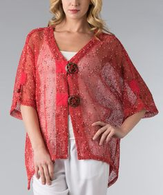 Look at this #zulilyfind! Coral Mesh Sidetail Cardigan - Women & Plus by Vasna #zulilyfinds
