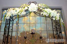 Outdoor Wedding Canopy Pergola Arbor White Pillars Wrought Iron Ideas Pinterest