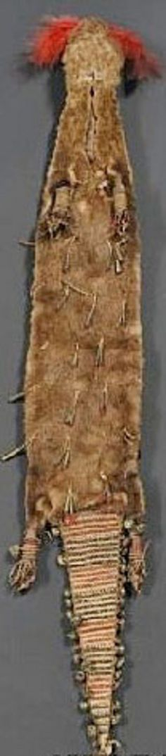 otter skin bag | An Iowa quilled otter skin bag; image credit on full record.