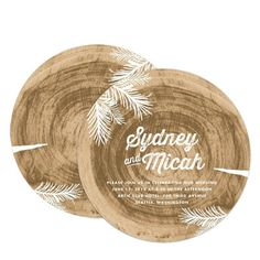 Woodland Wedding - Signature White Textured Wedding Invitation Circle Cards - Chewing the Cud - Sienna Brown - Brown : Front