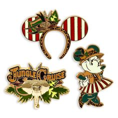 World explorer Minnie Mouse embarks on safari with this limited release set of collectible pins. Each set of three pins in The Main Attraction series is themed to a different, classic attraction at the Disney Parks. This month's adventure features the Jungle Cruise with logo, Minnie, and ear headband pin designs.