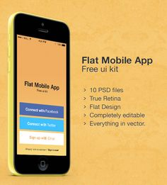 Flat Mobile UI PSD. Simple and flat Mobile UI optimized for retina, 10 screens and editable Photoshop vector shapes. Thanks to Asgar khan for this freebie. Download: http://graphicsbay.com/item/flat-mobile-ui-psd/223