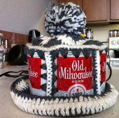 Crochet beer can hat!  Now, why hasn't that come back?