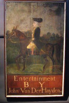 18th century Tavern Sign for the Van Der Hayden's Inn, Watervliet, (Hamlet of Troy) New York. circa 1796.  An 18th century tavern sign showing Washington on horseback. Original Pine Boards and Molded Surround, original Iron Hardware.