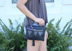 Rigby Pouch - Black Triangle $129 - Handmade 100% real Itailian leather bag, pouch bag with shoulder strap and geometric triangle detailing - www.BrittanyMatyas.com