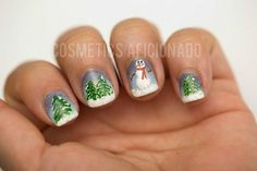 Winter snow scene with snowman nail art - bellashoot.com #christmasnails