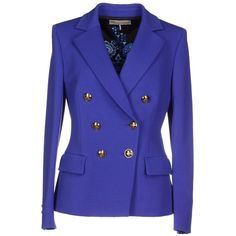 Emilio Pucci Blazer (€1.055) ❤ liked on Polyvore featuring outerwear, jackets, blazers, purple, long sleeve jacket, purple jacket, double breasted jacket, multi pocket jacket and blue double breasted jacket