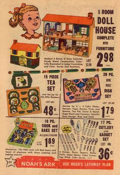 1955 Noah's Ark Toy Catalog, vintage dollhouse | Source: Sushipot - Suzanna Scott