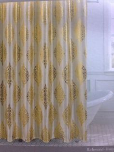 Couronne Dior Metallic Gold Ivory Toile Medallion Shower Curtain Hooks FX SILK