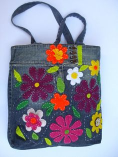 Blue jean bag with quilted flowers