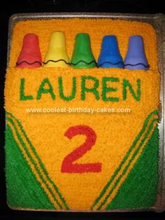 Homemade Crayola Box Birthday Cake: To start out, I viewed all of the great ideas for a Crayola Box Birthday Cake listed on this site!  I just made a few adjustments:  I didn't stack my 9x13