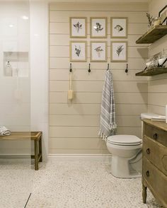 Love the walk in shower and maybe shiplap rather than tile to a chair rail in the rest of the bath in crisp white?  Wayfair