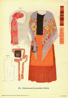 Sukkulalla ja neulalla: Tarkistettu kansallispuku - mikä ja miksi? Vehkalahti Folk Costume, Costumes, Folk Clothing, Traditional Outfits, Finland, Scandinavian, Culture, History, Sewing