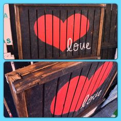 Love heart pallet reclaimed wood sign by Rustic Urban decors Pallet Crates, Wood Pallets, Pallet Projects, Diy Projects, Barn Parties, Urban Decor, Wood Store, Reclaimed Wood Signs, Salon Ideas