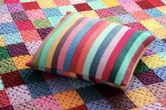 According to Matt...: Striped Tunisian Cushion