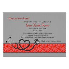 Nurse graduation pinning ceremony invitation caduceus pinstripe nurses have heart graduation invitation filmwisefo