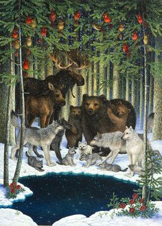 Christmas Gathering Art Print by Lynn Bywaters. All prints are professionally printed, packaged, and shipped within 3 - 4 business days. Choose from multiple sizes and hundreds of frame and mat options. Christmas Animals, A Christmas Story, Christmas Pictures, Christmas Art, Beautiful Christmas, Vintage Christmas, Christmas Paintings, Xmas, Yule