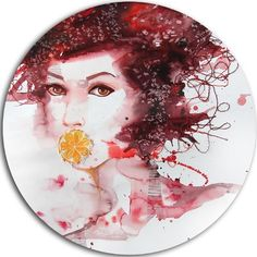 "DesignArt 'Illustrated Girl with Red Hair' Painting Print on Metal Size: 38"" H x 38"" W x 1"" D"