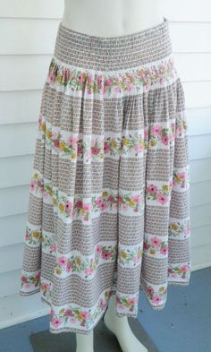 6c9cd5274aa Vtg 50s Full Pleated Floral Skirt Large XL 32