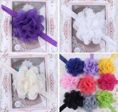 12pcs Lace Gauze Flower Kids Baby Girls Children Headband HairBand Headwear Bow