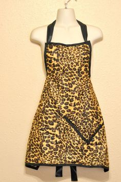 Leopard Cheetah Animal Print Pin Up Sexy Edgy Retro Kitchen Full Apron Handmade #Handmade