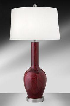 Medallion Burgundy Mercury Glass/Steel Table Lamp