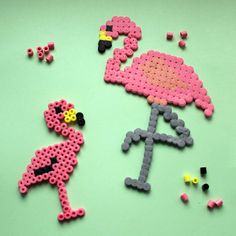 Flamingo & Lama – craft ideas for Foam Clay & Hama iron-on beads – Famous Last Words Quilting Beads Patterns Melty Bead Patterns, Pearler Bead Patterns, Perler Patterns, Beading Patterns, Quilt Patterns, Hama Beads Design, Diy Perler Beads, Perler Bead Art, Flamingo Craft