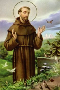 Francis of Assisi ~ Feast-day: October He is the patron saint of Animals, Merchants & Ecology. He lived from the years 1181 - Founder of the Franciscan Order, born at Assisi in Umbria. Catholic Saints, Patron Saints, St Francis Assisi, Patron Saint Of Animals, Christian Images, Angels Among Us, Light Of The World, Religious Art, Religious Images