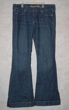 "American Eagle Womens 12 Regular Denim Blue Jeans Flares W 36"" L 34"" #AmericanEagleOutfitters #Flare"