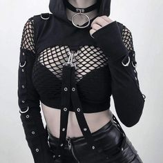 Punk Sexy Cold Shoulder Hollow Out Straps Embellished Long Sleeve Cropped Hoodie, Fashion Style Hoodies & Sweatshirts Edgy Outfits, Grunge Outfits, Cool Outfits, Fashion Outfits, Womens Fashion, Fashion Clothes, Jeans Fashion, Fashion Boots, Goth Clothes