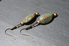 Messy Crow Textured Stone Bead Earrings by MessyCrow on Etsy, $8.00