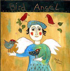Bird angel ©Barbara Olsen acrylic on canvas