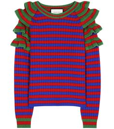 Gucci - Striped wool sweater - Alessandro Michele adds structure and movement to a wardrobe staple with this striped sweater. Red and blue stripes are accompanied by green ruffles on the shoulder for added dynamic. Wear yours with a long skirt or jeans alike. seen @ www.mytheresa.com