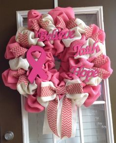 Breast Cancer Wreath Burlap Wreath Breast Cancer by JnSMDesigns, $95.00