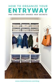 Professional Organizer Michele Vig of Neat Little Nest shares her secrets on how to organize your entryway and mudroom.