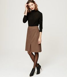 Primary Image of Petite Pocketed Midi Skirt