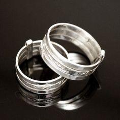 Bijoux Touareg Ethniques Bague Anneau en Argent 3 anneaux gravure Homme/Femme