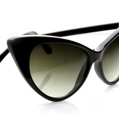 Cat Eye Sunglasses Deadstock Unique Womens Fashion Cateyes 1960s Era (Black)
