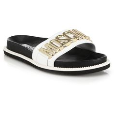 Moschino Logo Leather Slides : Moschino Shoes ($415) ❤ liked on Polyvore featuring men's fashion, men's shoes, men's sandals, apparel & accessories, black, moschino mens shoes and mens gold shoes