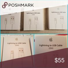 ??SALE?? Authentic iPhone Cables ??What you're getting...  -Three 1m (3.3ft) AND two 2m (6ft) -Compatible with: (iPhone 5, 5S, 6, 6S PLUS, 7) - 8pin Lightning to USB Charging cable. - Excellent Quality. - Comes in retail Packaging. - Durable and long lasting Cable. -Brand new  100% Genuine Apple iPhone Chargers for sale. These are Factory Made OEM Chargers. Not fakes.  Message me if you have ANY offers or questions. ???? apple Accessories