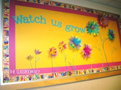 Love the flowers! Great Spring bulletin board for any classroom! Flower Bulletin Boards, Colorful Bulletin Boards, Reading Bulletin Boards, Spring Bulletin Boards, Back To School Bulletin Boards, Preschool Bulletin Boards, Kindergarten Classroom, Classroom Walls, Classroom Displays