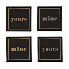Harman Ceramic 'Mine/Yours' Metallic Printed Coaster - Set of 4 (Black)
