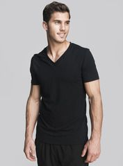 The Every Wear V Neck in onyx. Your workout doesn't end at the gym, so we created a tee using the finest blend of cotton and spandex. It's perfect for a light jog and the V keeps you breathing easy. Shop this and other styles at www.coryvines.com