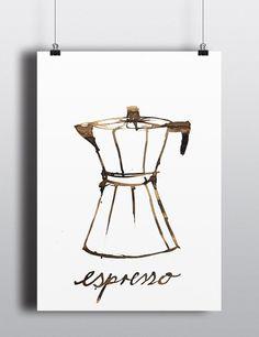 """Digitaldruck - Artprint """"Espresso Herdkanne"""" - ein Designerstück von designkind_de bei DaWanda"""