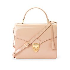 Mayfair Bag with Cross Body Strap in Nude Patent
