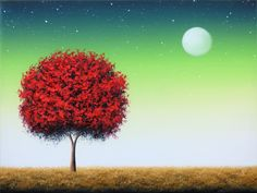 ORIGINAL Oil Painting, Red Tree Painting, Canvas Art, Abstract Tree Art, Surreal Art Moon Painting, Landscape, Green Night Sky, 12x16 by BingArt on Etsy