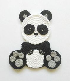 PATTERN Panda Applique Crochet Pattern PDF Bear Crochet Crochet Applique Patterns Free, Crochet Motifs, Crochet Animal Patterns, Stuffed Animal Patterns, Crochet Animals, Crochet Panda, Crochet Gifts, Crochet Toys, Motifs D'appliques